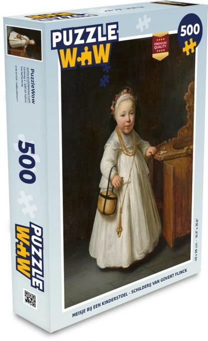Puzzel Govert Flinck 500 stukjes - Meisje bij een kinderstoel - Schilderij van Govert Flinck