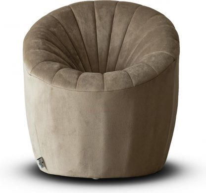 Velvet Kinderfauteuil Quint - Taupe (Kids stoel / Kinderstoel / velvet / velours / slaapkamer / kinderkamer)