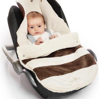 Wallaboo suède-look voetenzak - past in de autostoel - pasgeboren tot 12 maanden - met een teddy voering - bruin gestreept