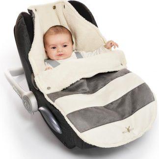 Wallaboo suède-look voetenzak - past in de autostoel - pasgeboren tot 12 maanden - met een teddy voering - grijs gestreept