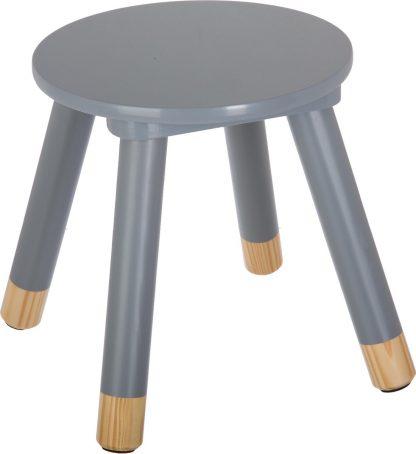 kinderkrukje grijs voor aan een kleine kindertafel - kinderstoel - krukje - bijpassende tafel ook te verkrijgen bij ons (BEAU By Bo) - houten stoel voor kinderen