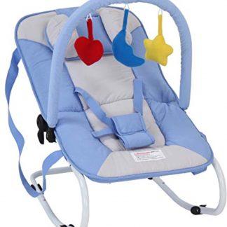 Infantastic Wipstoel Baby - Schommelstoel Baby - met Speelboog - Wipstoeltje Baby - Wipstoel/Schommelstoel/Baby - 3 Punts Veiligheidsgordel - Lichtblauw - 2 tot 12 Maanden - 65 X 42 X 62 CM