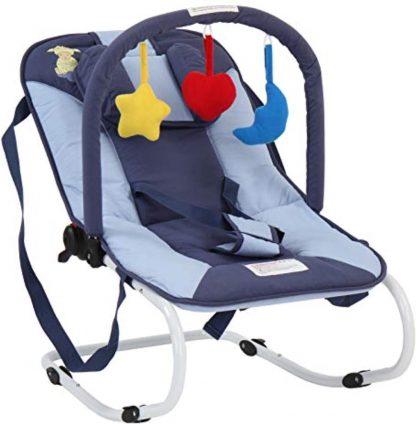 Infantastic Wipstoel Baby - Schommelstoel Baby - met Speelboog - Wipstoeltje Baby - Wipstoel/Schommelstoel/Baby - 3 Punts Veiligheidsgordel - Schaap - Donkerblauw - 2 tot 12 Maanden - 65 X 42 X 62 CM