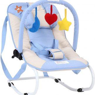 Infantastic Wipstoel Baby - Schommelstoel Baby - met Speelboog - Wipstoeltje Baby - Wipstoel/Schommelstoel/Baby - 3 Punts Veiligheidsgordel - Zeester - Lichtblauw - 2 tot 12 Maanden - 65 X 42 X 62 CM