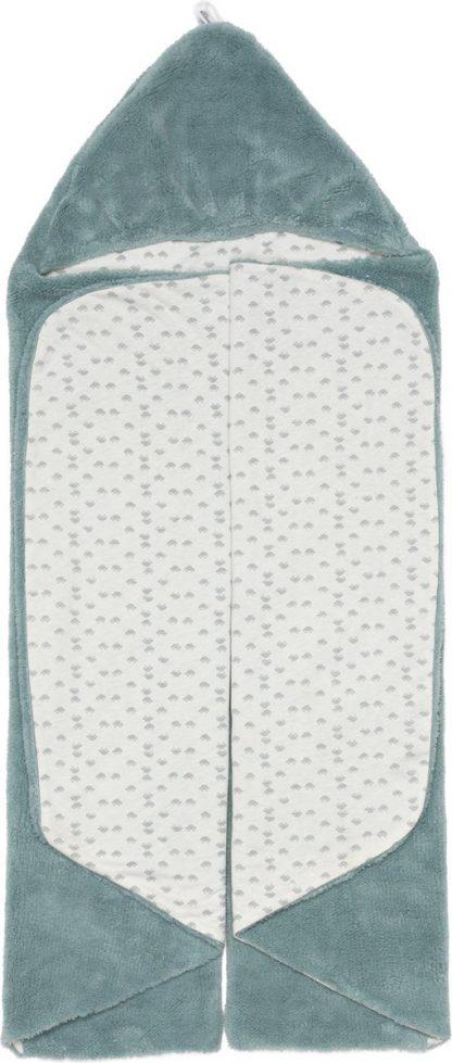 Snoozebaby Wikkeldeken Trendy Wrapping - Oekotex materiaal - geschikt voor alle autostoelen groep 0 - 90x110cm - Gray Mist petrol