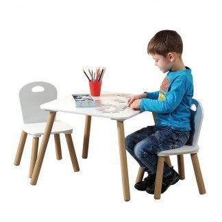 Mdf Kindertafel SET met 2 Stoelen | FSC Goedgekeurde Zitgroep | Houten Tafel, Inclusief 2x kinderstoel | Afm: Tafel 55 x 45 x 55 Cm. | Afm: Stoel 27 x 53 x 27 Cm. | 3 - Delige SET | Kleur: WIT
