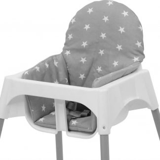 Polini Inlegkussen voor IKEA Antilop Kinderstoel - 'Sterren' Grijs