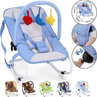 Trend24 - Wipstoel - Wipstoeltjes - Wipstoel baby - Babyswing - Babyschommel - Metalen frame - Blauw - 78 x 41 x 12,5 cm - 3,1KG