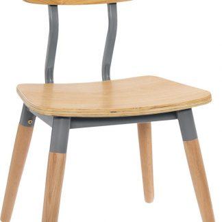 Atmosphera kinderstoel grijs beukenhout - retro stoel - kinderkamer - eetstoel