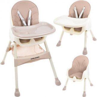 Kinderstoel 3 in 1 Verstelbaar - Kinderstoel voor Baby's - klaptafel 5-punts Gordel - Licht Roze