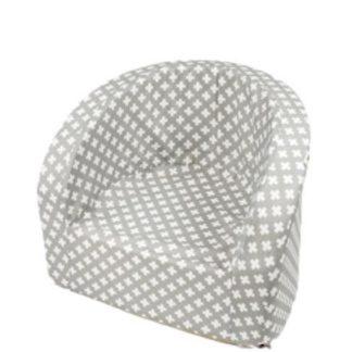 Kinderstoel - Fauteuil - Zetel - Smart, Grijs met witte kruisen - jongens - meisjes - kindermeubels - kindermeubelen tafel en stoeltjes