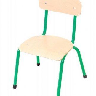 Kinderstoel groen - zithoogte 35 cm - metalen poten - Houten kinderstoeltje - schoolstoel -leerlingsstoel - kinderzetel - stoel kind - Peuterstoel - stapelbaar - kindertafel en stoeltjes van hout