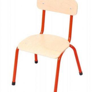 Kinderstoel rood - zithoogte 21 cm - metalen poten - Houten kinderstoeltje - schoolstoel -leerlingsstoel - kinderzetel - stoel kind - Peuterstoel - stapelbaar - kindertafel en stoeltjes van hout