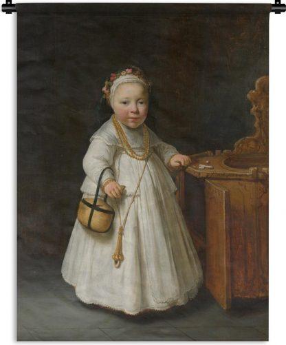 Wandkleed Govert Flinck - Meisje bij een kinderstoel - Schilderij van Govert Flinck Wandkleed katoen 120x160 cm - Wandtapijt met foto XXL / Groot formaat!
