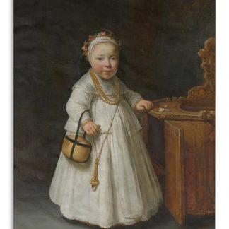 Wandkleed Govert Flinck - Meisje bij een kinderstoel - Schilderij van Govert Flinck Wandkleed katoen 90x120 cm - Wandtapijt met foto