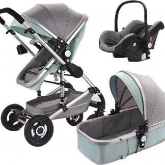 Wisesonle® Luxe Baby Buggy 3 in 1 | Baby Wagen |Kinderstoel | Hoge Kwaliteit | Grijs / Groen