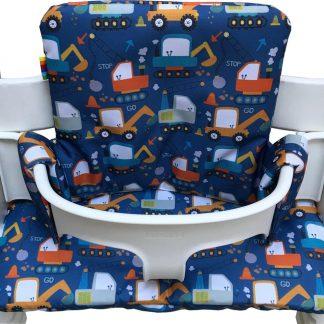 Gecoate kussenset voor de Tripp Trapp kinderstoel van Stokke - Graafmachines blauw