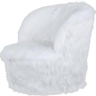 Nanny 225 kinderstoel wit Hoes van imitatiebont, ronde basisvorm, comfortabele pasvorm