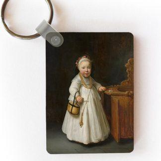 Sleutelhanger Govert Flinck - Meisje bij een kinderstoel - Schilderij van Govert Flinck sleutelhanger plastic - rechthoekige sleutelhanger met foto